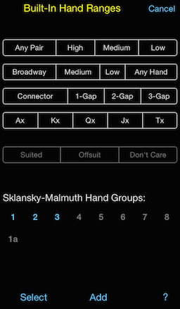 PokerCruncher - Built-In Hand Ranges: Select Sklansky Hand Groups 1..3