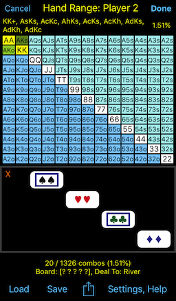 PokerCruncher - Hand Range Combinations (Weights): AKs