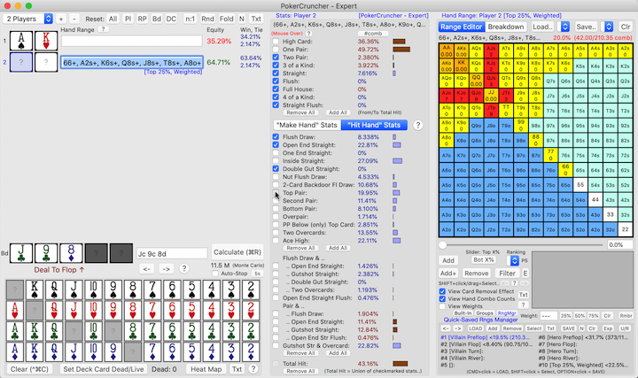 PokerCruncher-Mac - Mouse Over A Range's Stats