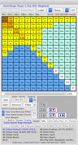 PokerCruncher-Mac - View Hand Combo Counts In Hand Range Grid