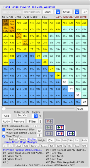 PokerCruncher-Mac - View Weights In Hand Range Grid